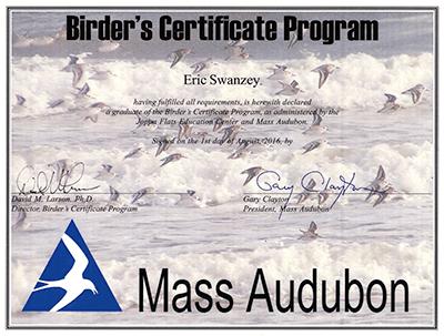 BCP Certificate from Mass Audubon